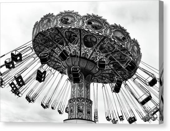 Seaside Heights Canvas Print - Swinging At Seaside Heights Mono by John Rizzuto