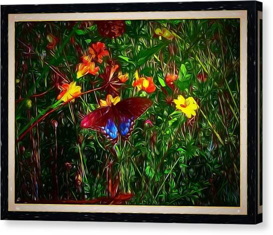 Border Wall Canvas Print - Swirly Butterfly Painting by Debra Lynch