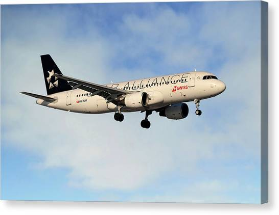 Star Alliance Canvas Print - Swiss Airbus A320-214 by Smart Aviation