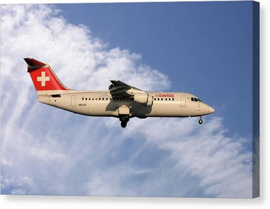 Swiss Canvas Print - Swiss Avro Rj100 by Smart Aviation