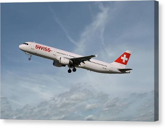 Swiss Canvas Print - Swiss International Air Lines Airbus A321-111 by Smart Aviation