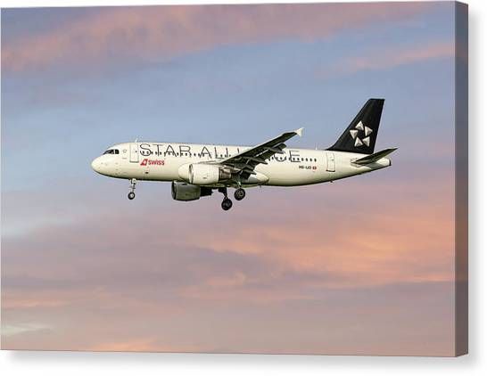 Swiss Canvas Print - Swiss Star Alliance Livery Airbus A320-214 2 by Smart Aviation