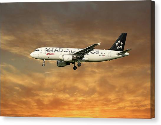 Swiss Canvas Print - Swiss Star Alliance Livery Airbus A320-214 6 by Smart Aviation