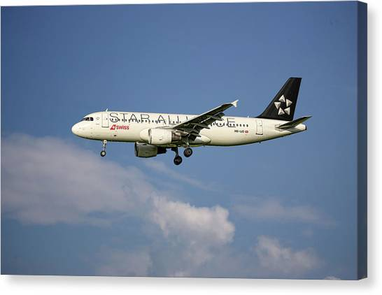 Swiss Canvas Print - Swiss Star Alliance Livery Airbus A320-214 8 by Smart Aviation