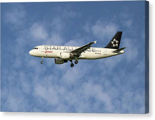 Swiss Canvas Print - Swiss Star Alliance Livery Airbus A320-214 1 by Smart Aviation