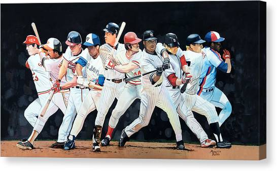 Mickey Mantle Canvas Print - Switch Hitting Collage  by Michael  Pattison