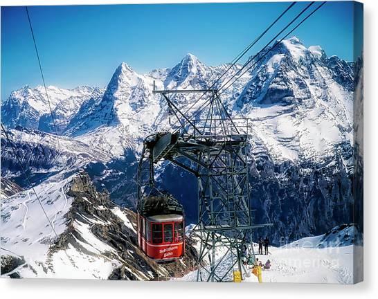 Switzerland Alps Schilthorn Bahn Cable Car  Canvas Print