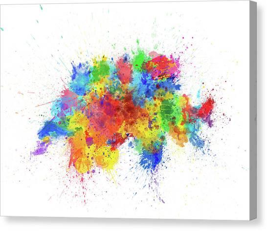Switzerland Canvas Print - Switzerland Paint Splashes Map by Michael Tompsett