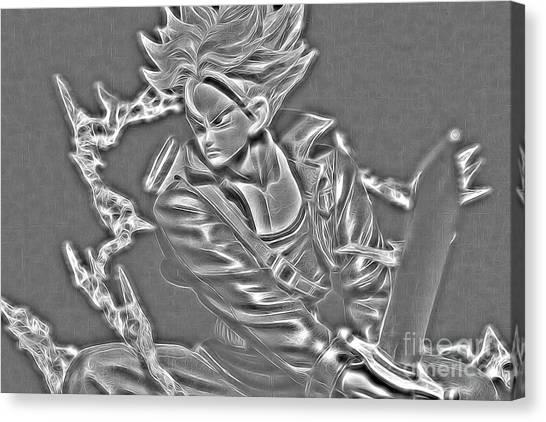 Canvas Print featuring the digital art Sword Rush Trunks by Ray Shiu