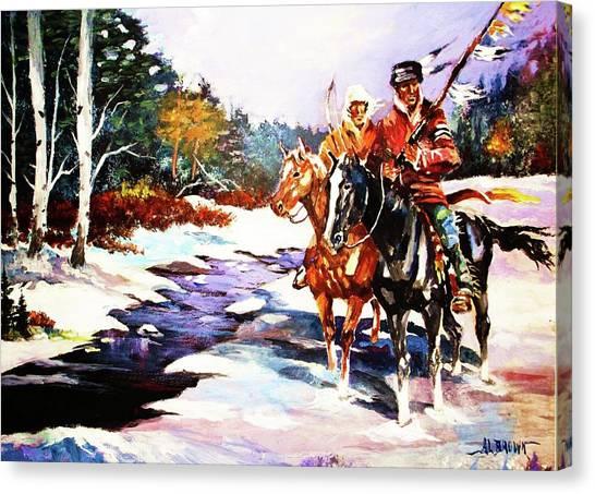 Snowbound Hunters Canvas Print