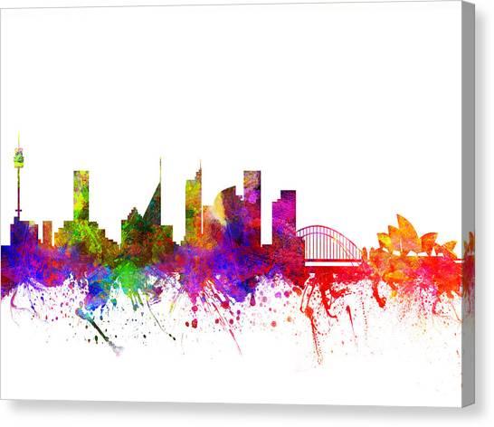 Sydney Skyline Canvas Print - Sydney Australia Cityscape 02 by Aged Pixel