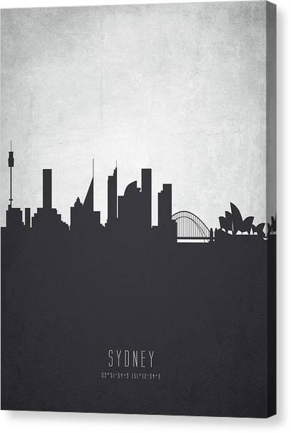 Sydney Skyline Canvas Print - Sydney Australia Cityscape 19 by Aged Pixel