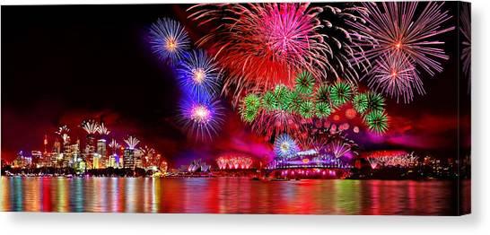 Fireworks Canvas Print - Sydney Celebrates by Az Jackson