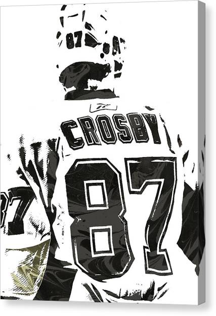 Penguins Canvas Print - Sydney Crosby Pittsburgh Penguins Pixel Art 2 by Joe Hamilton