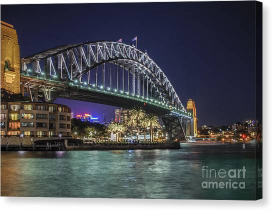 Canvas Print featuring the photograph Sydney Harbor Bridge At Night by Ray Warren