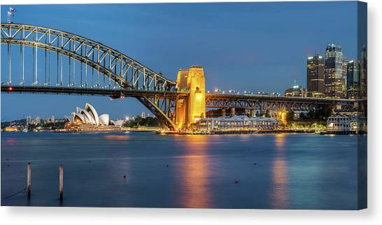 Sydney Skyline Canvas Print - Sydney Harbour At Dusk by James Udall