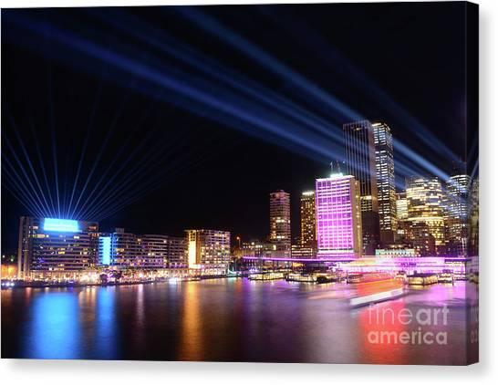 Sydney Skyline Canvas Print - Sydney Skyline Illuminated By Kaye Menner by Kaye Menner