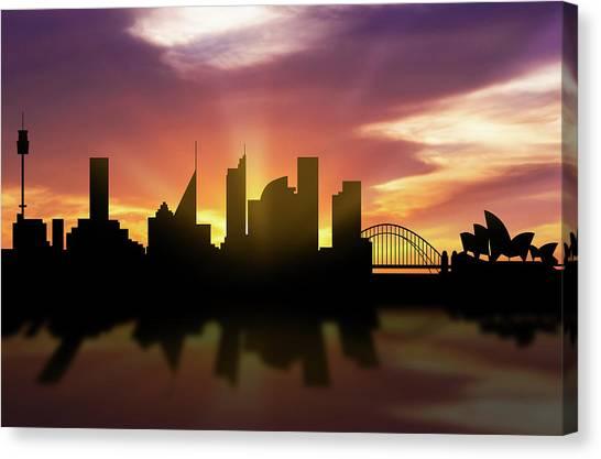 Sydney Skyline Canvas Print - Sydney Skyline Sunset Ausy22 by Aged Pixel