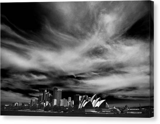 Sydney Skyline Canvas Print - Sydney Skyline With Dramatic Sky by Sheila Smart Fine Art Photography