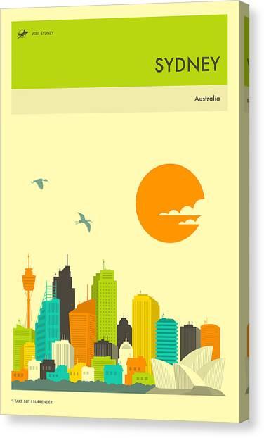 Sydney Skyline Canvas Print - Sydney Travel Poster by Jazzberry Blue