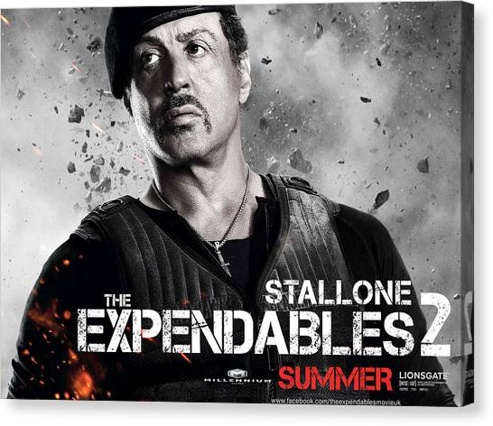 Stallone Canvas Print - Sylvester Stallone In Expendables 2 by Emma Brown