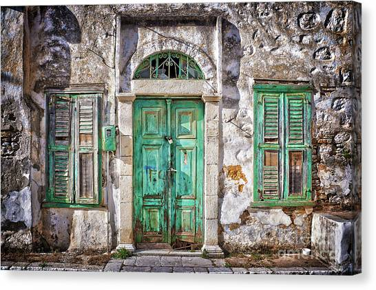 Abandoned House Canvas Print - Symi by Delphimages Photo Creations