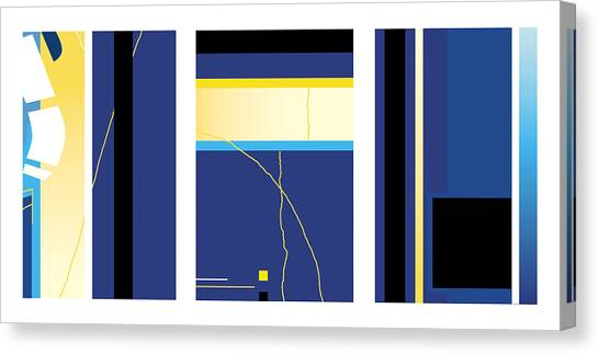Symphony In Blue - Triptych2 Canvas Print