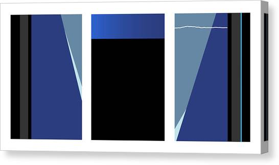 Symphony In Blue - Triptych 3 Canvas Print