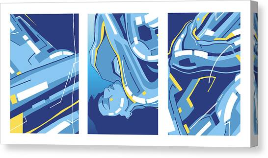 Symphony In Blue - Triptych 4 Canvas Print