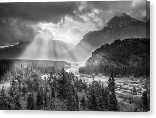 Canvas Print featuring the photograph Symphony Of Light // Many Glacier, Glacier National Park by Nicholas Parker
