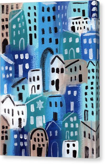 Judaism Canvas Print - Synagogue- City Stories by Linda Woods