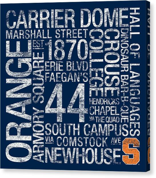 New York University Canvas Print - Syracuse College Colors Subway Art by Replay Photos