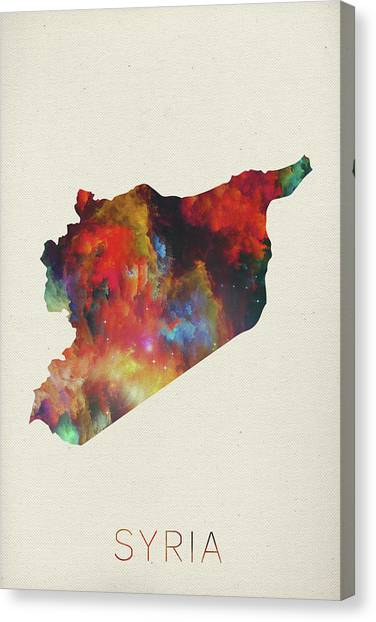 Syrian Canvas Print - Syria Watercolor Map by Design Turnpike
