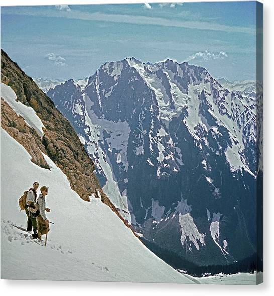 T-04402 Fred Beckey And Joe Hieb After First Ascent Forbidden Peak Canvas Print