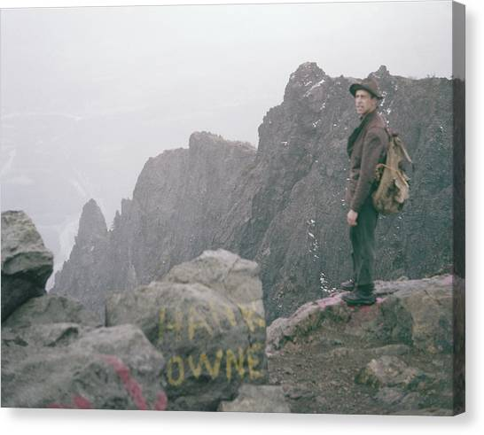 T-04701 Fred Beckey On Mt. Si 1958  Canvas Print