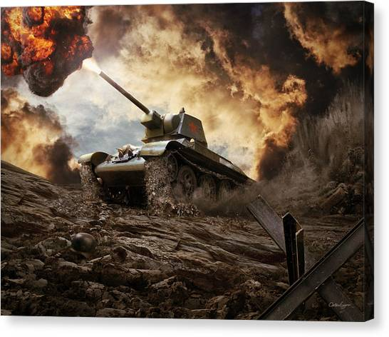 T-34 Soviet Medium Tank Wwii Canvas Print by Anton Egorov