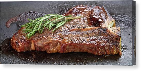 T-bone Canvas Print - T-bone Steak Pan Searing by Steve Gadomski