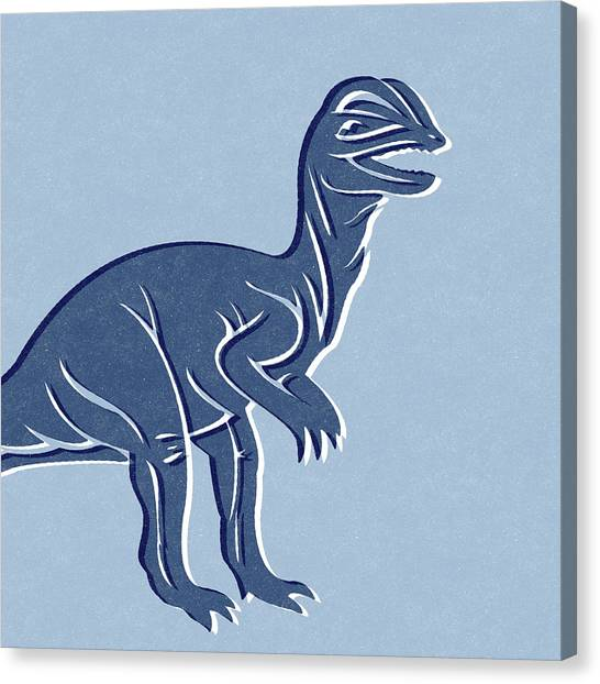 Dinosaurs Canvas Print - T-rex In Blue by Linda Woods