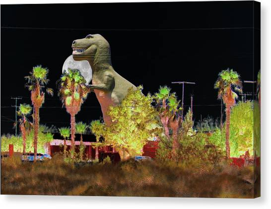 T-rex In The Desert Night Canvas Print