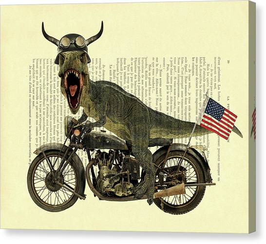 Stars And Stripes Canvas Print - T Rex Riding His Harley, Dictionary Print by Madame Memento