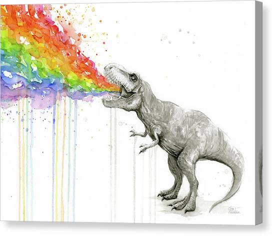 Dinosaurs Canvas Print - T-rex Tastes The Rainbow by Olga Shvartsur