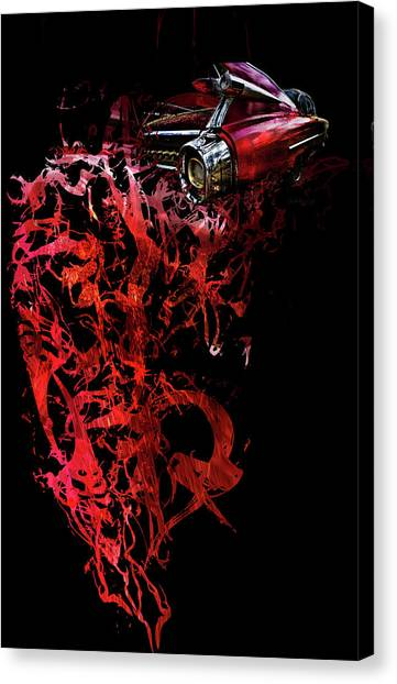 Canvas Print featuring the photograph T Shirt Deconstruct Red Cadillac by Glenda Wright