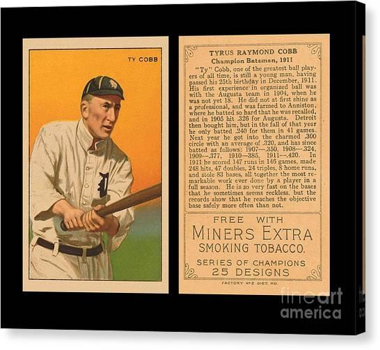 Ty Cobb Canvas Print - T227 Ty Cobb Series Of Champions by Art Kurgin