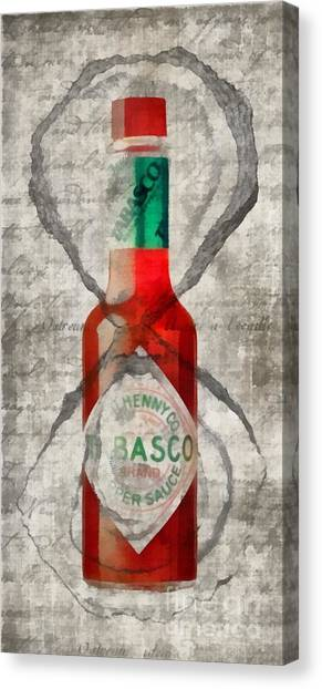 Hot Sauce Canvas Print - Tabasco Hot Sauce And Oysters by Edward Fielding