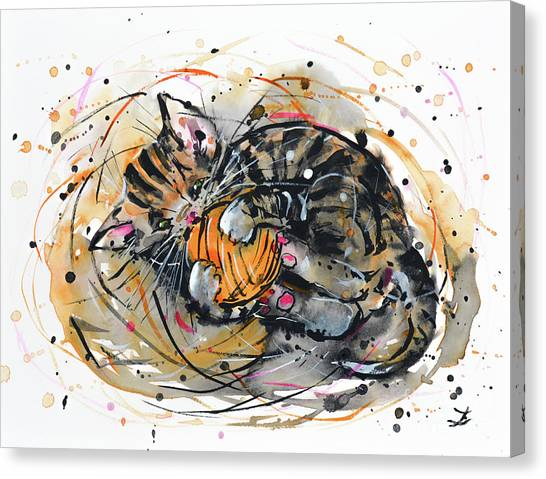 Tabby Kitten Playing With Yarn Clew  Canvas Print