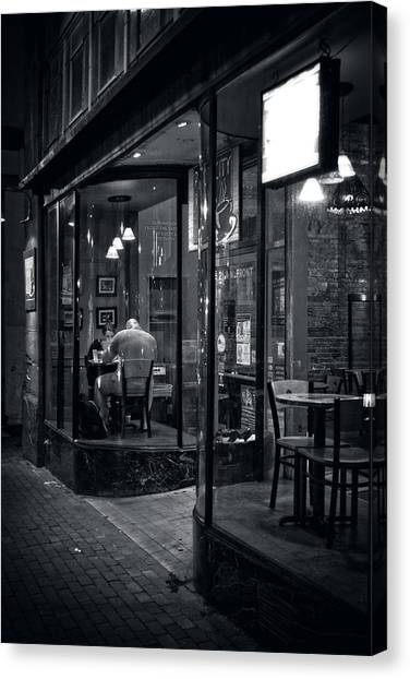 Table For Two In Black And White Canvas Print