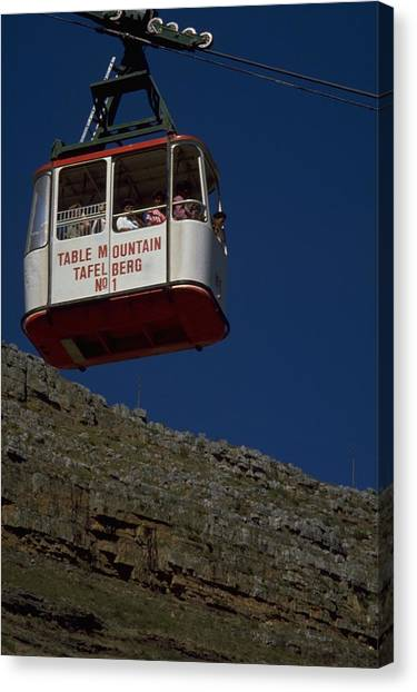 Red Travelpics Canvas Print - Table Mountain Cable Car by Travel Pics