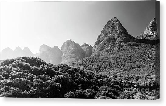 Canvas Print featuring the photograph Table Mountain National Park Black And White by Tim Hester
