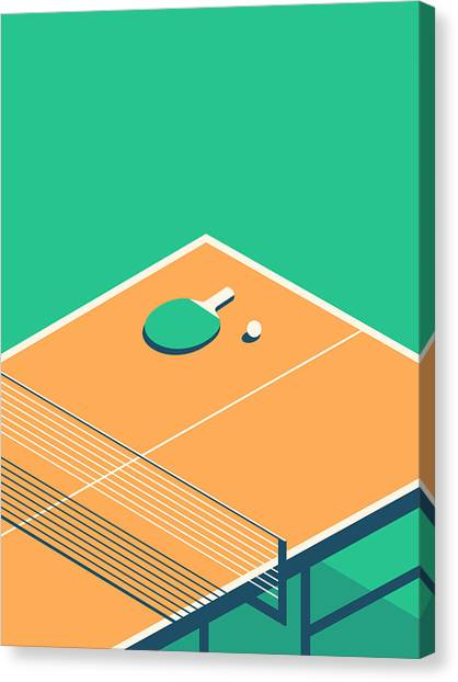 Table Tennis Table Isometric - Green Canvas Print by Ivan Krpan