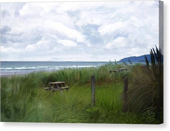 Tables By The Ocean Canvas Print